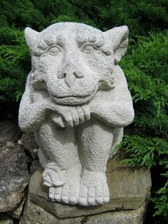 Gargoyle, Friendly Concrete Garden Statue, Gothic Cement Figure