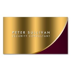 Security Consultant Special Skills Gold Curve Business Card