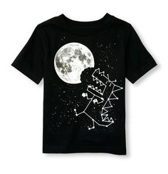 s Toddler Boys Short Sleeve Glow-In-The-Dark Dino Chomp Constellation Graphic Tee - Black T-Shirt - The Children's Place