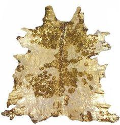 Metallic Gold Acid Washed cow hide rug