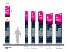 How do you bring 7 million spectators to the greatest show on earth safely and efficiently? The answer to such a logistical challenge, surely one of the hardest London has ever faced, needs careful planning and collaboration between key stakeholders (LOCOG, ODA, TfL). Directional Signage, Wayfinding Signage, Signage Design, Map Design, Environmental Graphic Design, Environmental Graphics, Signage Board, Bus Stop Sign, Hyde Park London