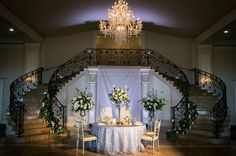 this staircase on a slightly smaller scale would be lovely in a reception hall where the ceremony is held on the balcony Luxury Wedding, Elegant Wedding, Wedding Reception Venues, Banquet, Wedding Blog, Table Decorations, Lighting, Balcony, Gallery