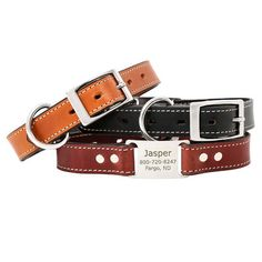 The Leather ScruffTag Collar is a fan favorite. High quality english bridle leather with corrosion-proof stainless steel hardware. Made in the USA too!