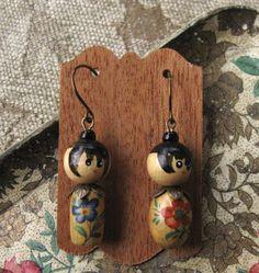 Little Kokeshi Doll Earrings Wooden Beads Niobium Ear Wires Pair #1