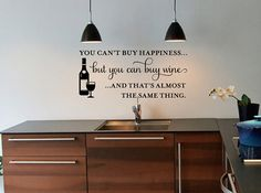 Wine Wall Quote Decals You Can't Buy Happiness.. by KeyReflection, $24.00