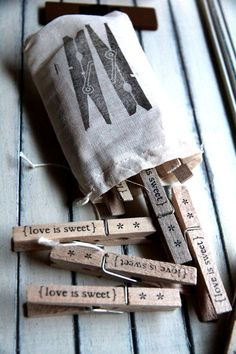 Clothespins++love+is+sweet+Set+of+12+by+quotesandnotes+on+Etsy,+$15.00