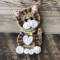 Searching for the perfect crochet applique pattern items? Shop at Etsy to find unique and handmade crochet applique pattern related items directly from our sellers. Crochet Cat Pattern, Crochet Flower Patterns, Applique Patterns, Crochet Motif, Crochet Flowers, Knitting Patterns, Unicorn Pattern, Afghan Patterns, Chat Crochet