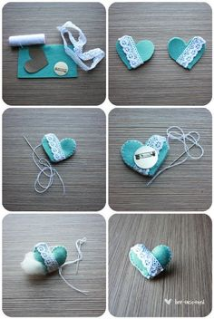 DIY heart pin. Great one if you are teaching your girls to sew.