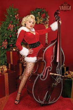 Christmas Pinup!  And she can play the Bass, too!
