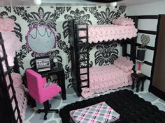 Doll Bunk Bed - perfect for Monster High Dolls, Barbies & Bratz dolls. $25.00, via Etsy.