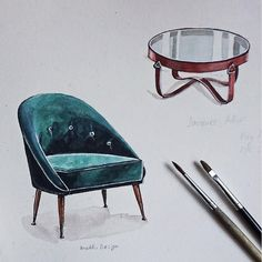 Sketching Armchair from Brabbu Design, coffe table from Jacques Adnet. #atomorfen_sketch Скетчинг Кресло Brabbu Design, столик Jacques Adnet.