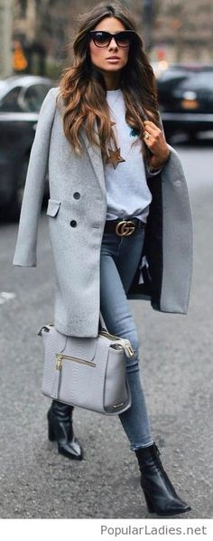 Jeans, blouse and a coat