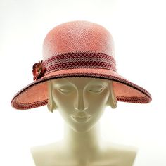 Pink Coral Wide Brim Hat for Women  Ladies Vintage Fashion Panama Straw Hat by TheMillineryShop