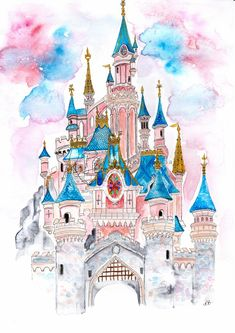 Disney Castle Drawing, Disney Drawings, Art Drawings, Watercolor Disney, Watercolour Painting, Painting Prints, Fine Art Prints, Disney Princess Castle, Princess Party