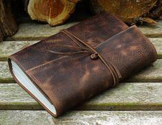 A5, cuir moyen, en détresse Journal, Journal enveloppante en cuir, Journal de…