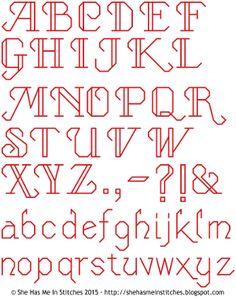 Free Cross Stitch Pattern: Cursive Backstitch Alphabet – by She Has Me In Stitches