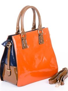 Orange/Brown Satchel Bag