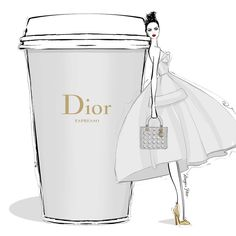 Today's coffee comes in pale grey with gold hardware..... it's a very classic DIOR Espresso! @dior #MeganHessCoffeeGirls