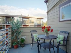 When Selling your Home, remember to stage the patio; this Portland townhome was staged and sold in two weeks