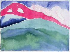 Pink and Green Mountains No.1 by Georgia O'Keeffe, 1917. Watercolour, 23 x 31 cm