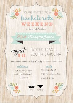 Bachelorette Invitation & Itinerary by ChloeAndMilo on Etsy, $12.00