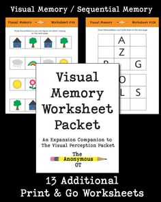 An expansion companion for The Visual Perception Packet - This resource provides 13 different print & go worksheets (over 30 pages total!) to address visual memory and higher level visual processing. Visual Perceptual Activities, Motor Activities, Winter Activities, Occupational Therapy Activities, Over It Quotes, Infant Lesson Plans, Vision Therapy, Working Memory, Visual Memory