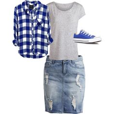 Image result for jean skirt outfits and t shirt summer