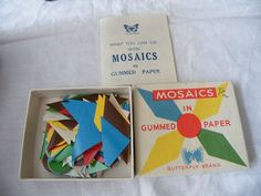 VINTAGE MOSAICS IN GUMMED PAPER, BUTTERFLY BRAND, BOX & CONTENTS