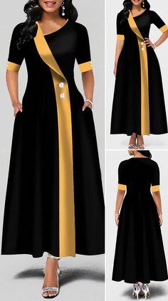 Asymmetric Neck Button Detail Pocket Maxi Dress HOT SALES beautiful dresses, pretty dresses, h Latest African Fashion Dresses, African Dresses For Women, African Print Fashion, Modern Dress For Women, Beautiful Dresses For Women, Africa Fashion, Women's Fashion Dresses, Elegant Dresses, Pretty Dresses