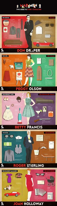 Mad Men: Two Sides To Every Character #infographic #Fashion #Entertainment #TelevisionShow