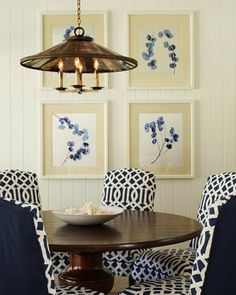 A quartet of gallery frames + a strong color story in the art prints (and slipcovered chairs).