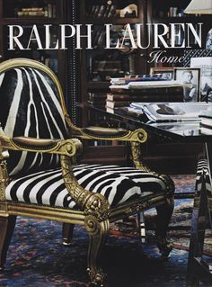 Ralph Lauren Home 2005 - Black and Gold de Luxe - I love the contrast. Ralph Lauren Safari, Ralph Lauren Style, Animal Print Furniture, Zebra Chair, British Colonial Decor, Style Deco, Home And Deco, Decoration, Armchair