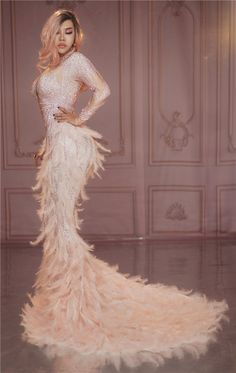 Buy Women Luxury Full Stones Long Big Tail Dress Costume Prom Birthday Celebrate Dresses Sparkly Rhinestones Pink Feather Nude Dress at Wish - Shopping Made Fun Evening Dresses, Prom Dresses, Formal Dresses, Rhinestone Dress, Rhinestone Wedding, Nude Dress, Feather Dress, Red Gowns, Festival Dress