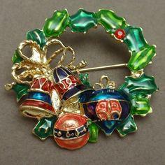 Wreath Pin Enamel Ornaments Christopher Radko Brooch Xmas Christmas | eBay