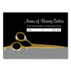 Remind clients and customers with these fashionable hair salon appointment reminder business cards for a professional hairstylist with modern and trendy black and white chevrons and a pair of chic gold hair cutting scissors. Personalize each individual elegant and stylish dual purpose business card by writing in by hand the name of the beautician or hairdresser and salon appointment info.