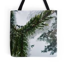 'snowy spruce' Tote Bag by lyshoseok Large Bags, Small Bags, Cotton Tote Bags, Reusable Tote Bags, Medium Bags, Are You The One, Prints, Stuff To Buy, Small Sized Bags