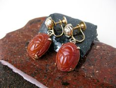 1930s Art Deco Scarab Earrings, Signed Coro, Egyptian Revival, Costume Jewelry, USA.    by TampicoJewelry, $39.00
