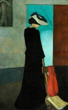 """William Rothstein (GB 1872-1945) Interior (Lady with a Hat), 1891 Oil on canvas ca 90 x 57 cm Museums Sheffield"""""""