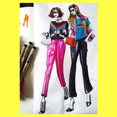 Florida bound cuz my girls are lookin ghostly ✌️outNYC☔️ #colorfulladies #fashionillustration #illustration #instamood #instadaily #bringonthesun