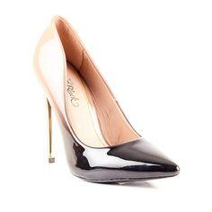 Black & Nude High Heeled Ladies Court by Miss Black Footwear.