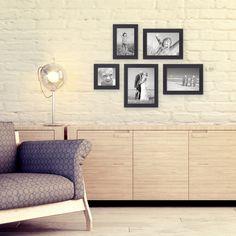 5er Set Bilderrahmen Schwarz Modern Massivholz