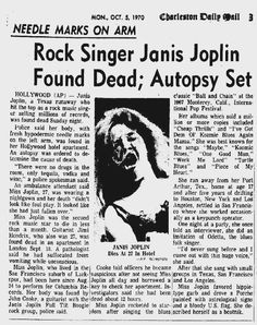 Janis died on October within 16 days of Jimi Hendrix, and 10 months of Jim Morrison. Janis Joplin, Newspaper Headlines, Old Newspaper, Music Sing, Rock Music, Front Page News, Celebrity Deaths, Headline News, School Photos