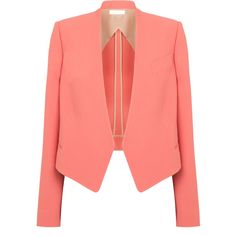 Chloé Classic Cropped Blazer (35.100 RUB) ❤ liked on Polyvore featuring outerwear, jackets, blazers, tops, coats, coral, chloe jacket, lined jacket, drape jacket and cropped blazer jacket