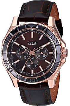 *** GUESS Mens Sporty Classic Rose Gold-Tone & Brown Multi-Function Watch *** - Quartz movement - Case Diameter: - Water Resistant To 330 Feet - Day, Date, 24 Hour Interntional Time Functions Stylish Watches, Luxury Watches For Men, Cool Watches, Guess Watches, Dream Watches, Sport Watches, Rose Gold Pictures, Brand Name Watches, Watch Sale