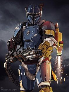 The Mandalorian and the other characters of Star Wars. Star Wars Fan Art, Rpg Star Wars, Star Wars Clones, Star Wars Concept Art, Star Wars Clone Wars, Star Wars Guns, Star Wars Droids, Star Trek, Images Star Wars