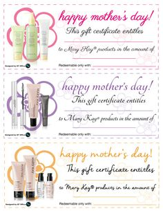 With Mother's Day approaching soon, QT Office® has designed Mary Kay® Mother's Day Gift Certificates free for you to use! Our Mother's Day Gift Certificates