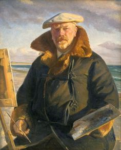Michael Peter Ancher (Danish impressionist artist) 1849 - 1927  Selvportræt (Self-portrait), 1902  oil on canvas  110 x 88 cm.