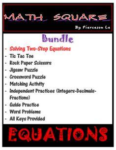 Solving Two Step Equations Bundle Math Skills, Math Lessons, Elementary Teacher, Elementary Education, Two Step Equations, Teacher Resources, Classroom Resources, Guided Practice, Solving Equations