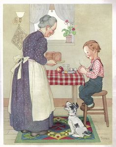 Little Tommy Tucker from Sing Mother Goose 1945 by Opal Wheeler, illustrated by Marjorie Torrey by katinthecupboard via Flickr