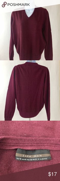 """ZARA MAN V Neck Burgundy Sweater Size M This Zara Man V Neck Burgundy Sweater is 100% Wool. The sweater is in great condition, perfect for layering for the winter months!  The length is 26"""", Chest is 19"""", Sleeves 23"""". Thanks for shopping my closet! Zara Sweaters V-Necks"""